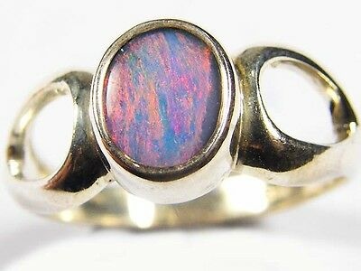 BAGUE OPALE DOUBLET & Argent 925 15CTS ~6388 OPAL DOUBLET RING Sterling Silver