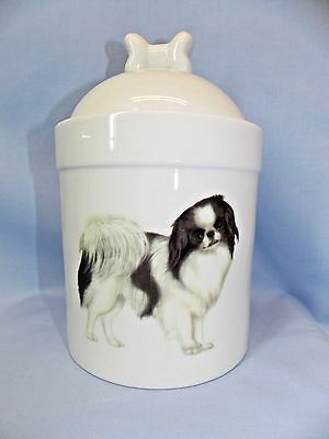 Japanese Chin Dog Porcelain Treat Jar Fired Full Body Decal on Front 8 In Tall