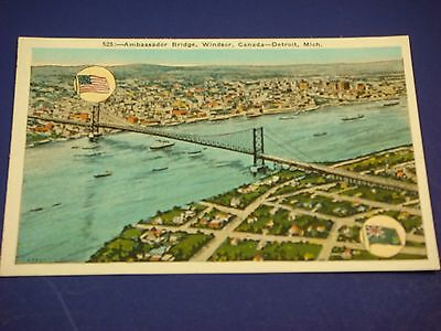 Ambassador Bridge Windsor, Canada-Detroit Michigan Vintage Colorful Postcard PC6