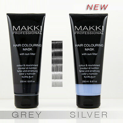 Grey Gray / Silver Makki Professional Semi Permanent Hair Colour Mask Dye Tint