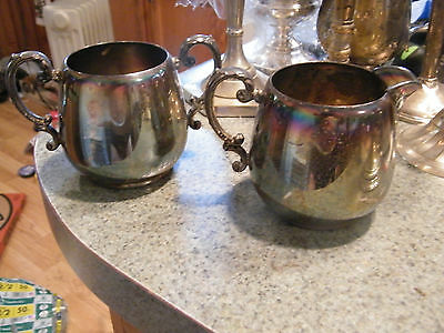 Excellent Vintage Wm Rogers Creamer and Sugar Silver/ plate/ Pre-1900