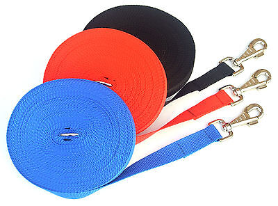 65ft 20m Long Dog Training Lead Obedience Recall Leash Large 25mm Black Red Blue