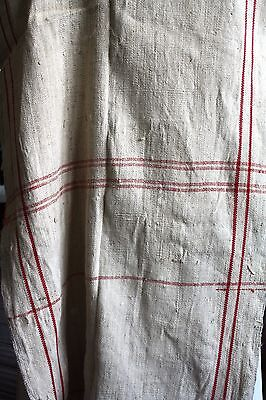 Antique FRENCH woven fabric cream and red 19 inches wide