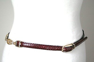 S - Python Vintage Belt - 1980s Burgundy snakeskin skinny leather belt