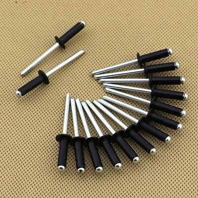 100PCS M2.4 M3.2 M4 M5 Aluminum Blind Rivets Pop Rivets Dome Head Open End Black