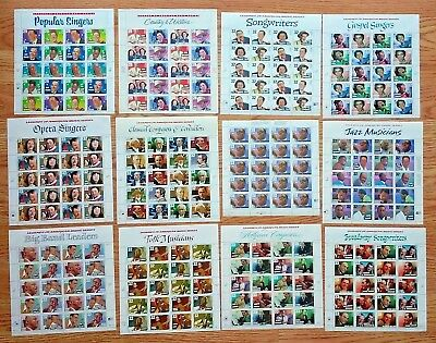 New 12 Sheets LEGENDS OF AMERICAN MUSIC SERIES 29¢, 32¢, 33¢ US PS Postage Stamp