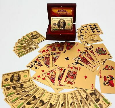 24K Gold Foil Plated Poker Playing Cards $100 Benjamin Certificate Authenticity