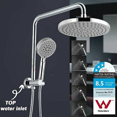 WELS Round 8'' Rain Twin Shower Head 5-mode Handheld Gooseneck Diverter Arm Set