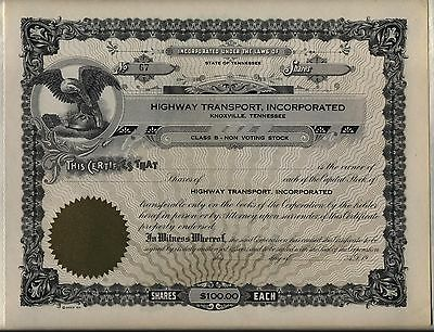 Highway Transport, Incorporated Stock Certificate Knoxville Tennessee