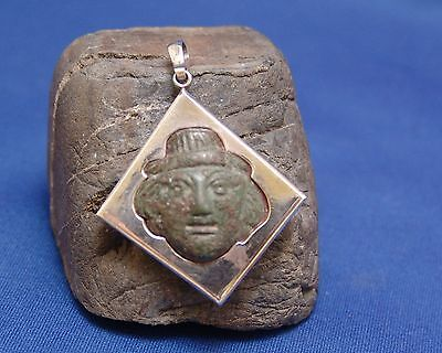 Ancient Roman Bronze Bust of Goddess in modern Sterling Silver Mount