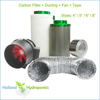 "4"" 6"" 8"" Filtaroo Premium Carbon Filter Ventilation Fan Ducting Kit Hydroponics"