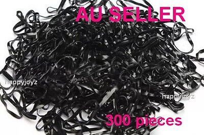 300 Black Hair ties Rubber hair band School gym Hairband Ponytail holder BULK