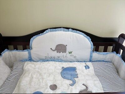 NEW  COT 6 BEDDING SET BUMPER blue textile blanket baby gift pillar sheet