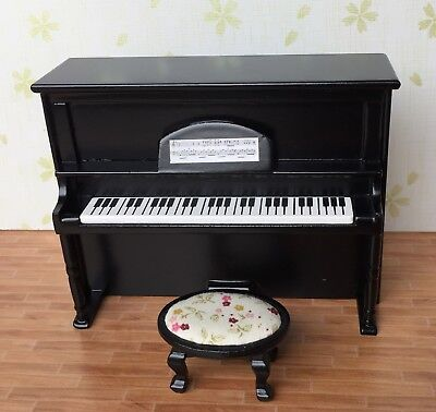 1/12 Scale Dollhouse Music Room Furniture Instrument Wooden Piano & Stool HE005G