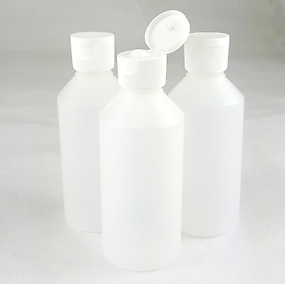 Plastic Bottles 250ml Clear w/ Flip Top Cap New HDPE Transparent Travel Size