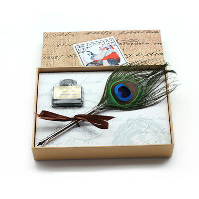 Christmas Gift Box Peacock Feather Quill Pen Ink Bottle Writing Dip Pen Set New