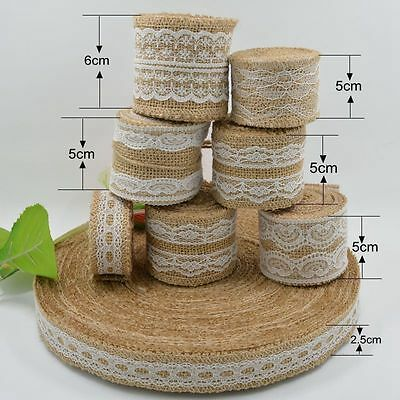 10 Hessian Ribbons with Lace Trims Natural Jute Burlap Tape Rustic Wedding Décor