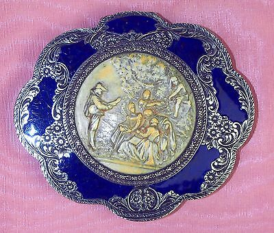Powder Box. Sterling Silver.hand Chiselled. Enamel. Italy.beginning Xx Century.