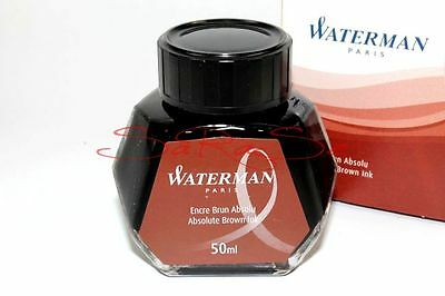 WATERMAN ABSOLUTE BROWN BRAUNE TINTE BRAUN TINTENFASS FASS FLACON 50ml