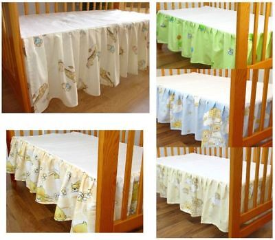 Frilled Cot Valance Sheet, Flat Sheet with Lovely Infant Baby Patterns