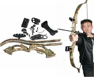 "New ABS 48"" Camo Archery Takedown  Recurve Bow Set Training Shooting Arrow Rest"