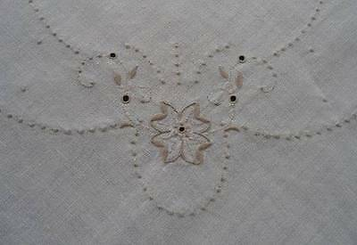 Vintage Madeira Linen Tablecloth Napkins Taupe Cutwork Hand Embroidery Set 76""