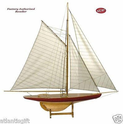 "1895 Defender Pond Sailboat Assembled 37"" Built Wooden Authentic Models Yacht"