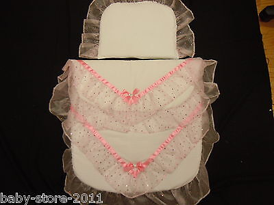 Beautiful Pram Quilt and Pillow Set WHITE  romany.Style  suitable for MOST PRAMS