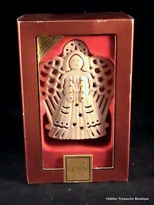 Lenox Bright Christmas Angel Votive Candle Holder Porcelain Gold Accents