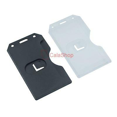 Vertical double Sides Hard Plastic Business ID Card Badge Name Tag Holder Pick