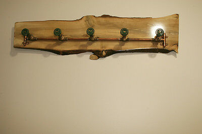 One-of-a-Kind Vintage Industrial Look Live Edge Salvaged Holly Wood Coat Rack