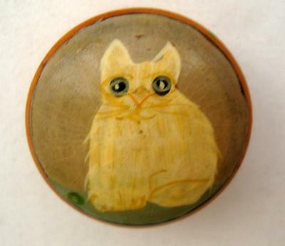 Adorable Miniature Folk Art Cat Trinket Box, Wood, Handpainted, 1.25""