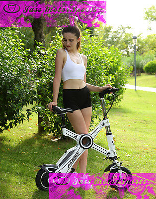 "White X Folding Electric E Bike MINI Bicycle 10"" Wheel Electric Bicycle"