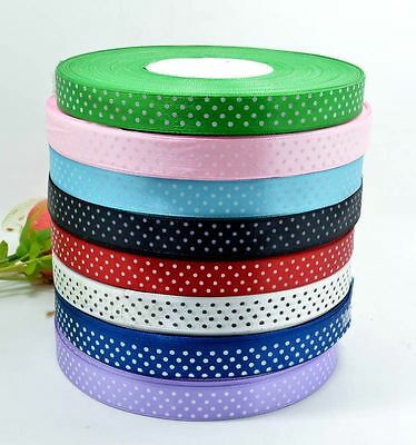 15Mm Satin Polka Dot Ribbon - 10 Metres - 8 Colours Spotty, Spots