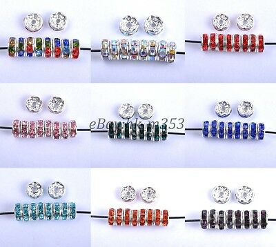 100Pcs Quality Czech Crystal Rhinestone Silver Rondelle Spacer Bead 6MM 8MM 10MM