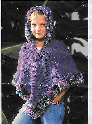 Vintage Girls Knitting Pattern, Hooded Poncho, Ages 4-11 years, DK