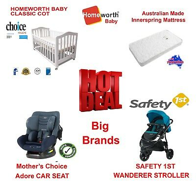 Safety 1st Summit ISO30 CAR SEAT WANDERER STROLLER CLASSIC COT MATTRESS PACKAGE