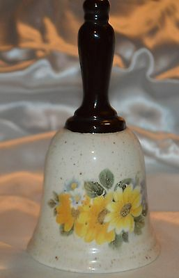 Cream Speckled Ceramic Bell with Daisies & other flowers with a Wood Looking Han