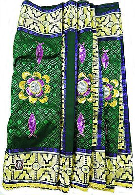 Royal George Fabric, Emerald Green & Gold With Purple & Gold Sequins, 7M, Tr034