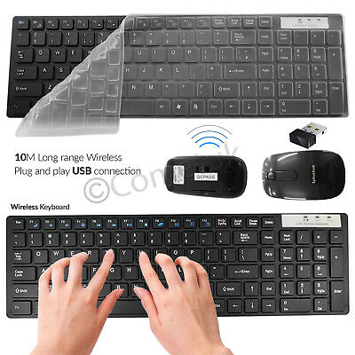 Slim Black 2.4GHz Wireless Keyboard and Cordless Mouse Set For Desktop PC Laptop
