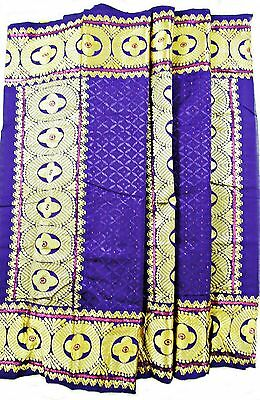 High Life Super Delux Georges, Purple Silk Fabric With Gold Threadwork, 7M, Tr03