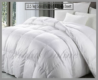 Luxurious Goose Feather & Down Duvet, Premium Hotel Quality 13.5 Tog All Sizes