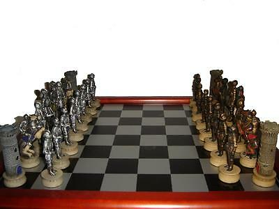"The Chessmen Hand Painted Warrior Chess Set with 3"" King and 40cm Chessboard"