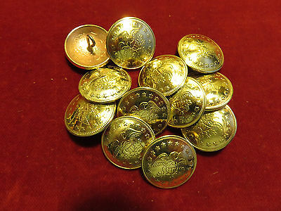 "Buttons: Set of 12 Brass 13/16""  Eagle, Shield and Stars"