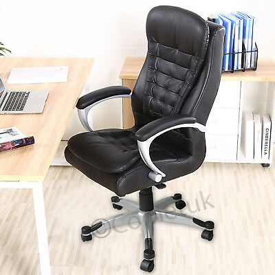 Extra Padded Pu Leather Office Chair Executive Luxury Swivel Computer Desk Seat