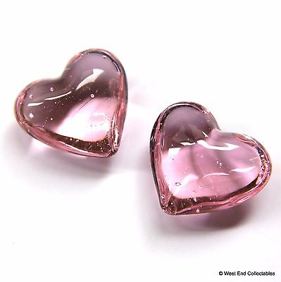 """Beautiful Pair of Pink 1"""" Glass Marble Hearts - Wedding Favours Valentines Gift"""
