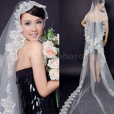 Velo Da Sposa Veil Bride Con Bordo Pizzo Bianco Per Donna Prom Party Matrimonio