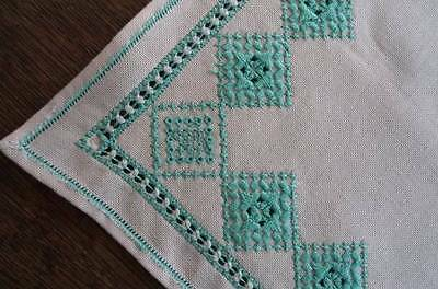 """Vintage Table Runner Italian Embroidered Cutwork Green 49"""""""