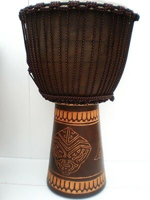"Pro Quality Mahogany Wood Bongo Djembe Drum Tribal Carved 65Cm Tall 13-14""head"