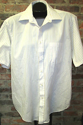 Vintage 70s Van Heusen Patterned Dress Shirt with Big Butterfly Collar Sz 17